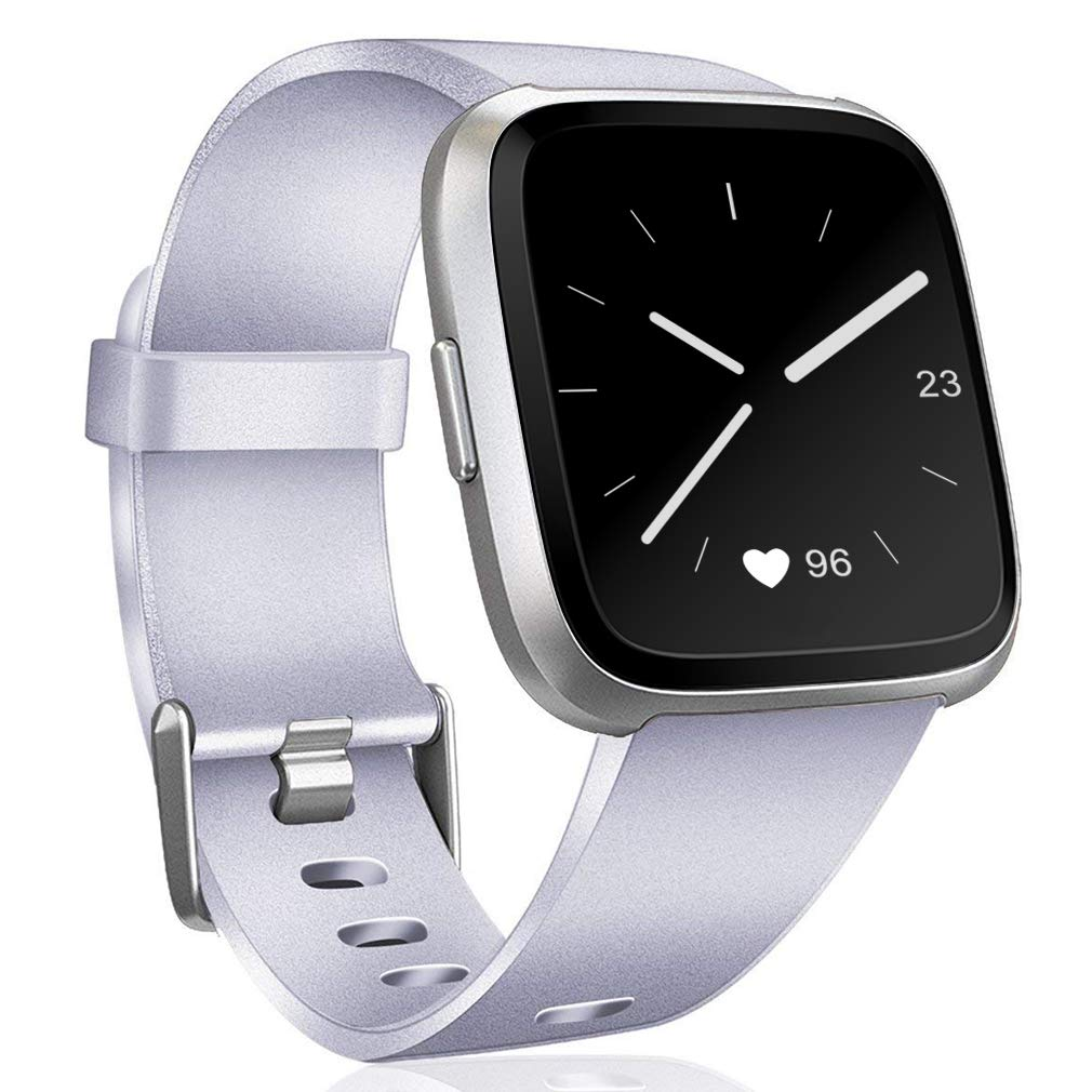 Hamile for Fitbit Versaバンド、交換用Wristbandsストラップfor Fitbit Versaアクセサリー、Large Small B07DN4RSJC 05-Silver L(7.1\