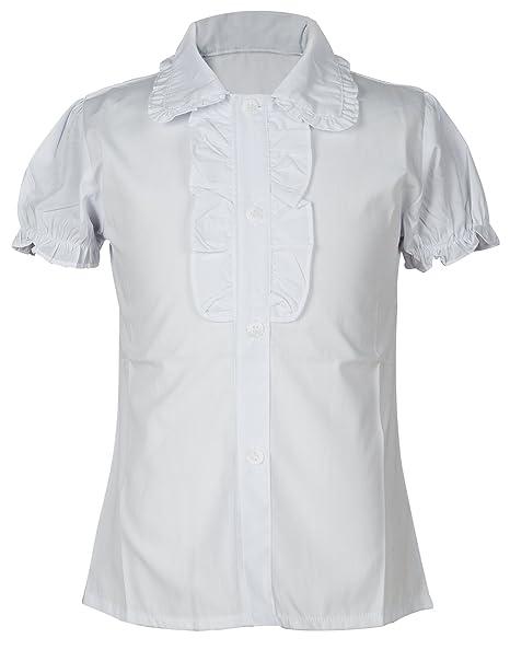 592514cf Amazon.com: Big Girl's School Uniforms Short Puff Sleeve Blouse Button-Down  Shirts with Ruffle Trim 7: Clothing