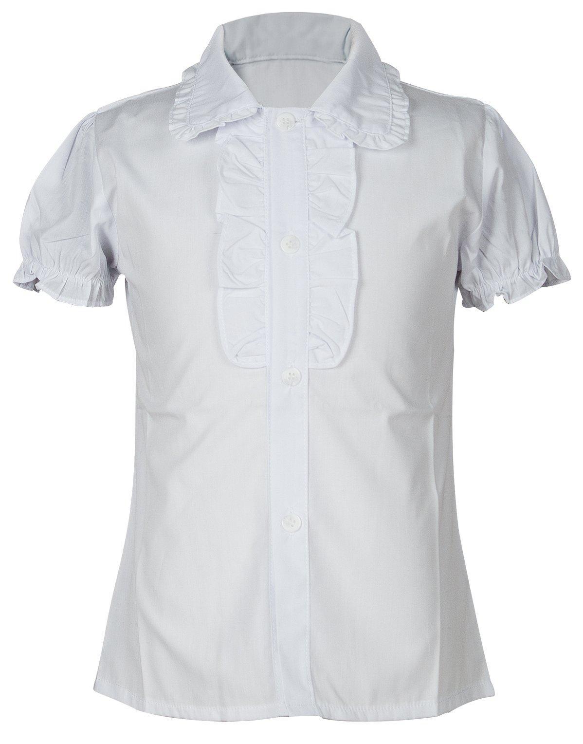 Big Girl's School Uniforms Short Puff Sleeve Blouse Button-Down Shirts with Ruffle Trim 10
