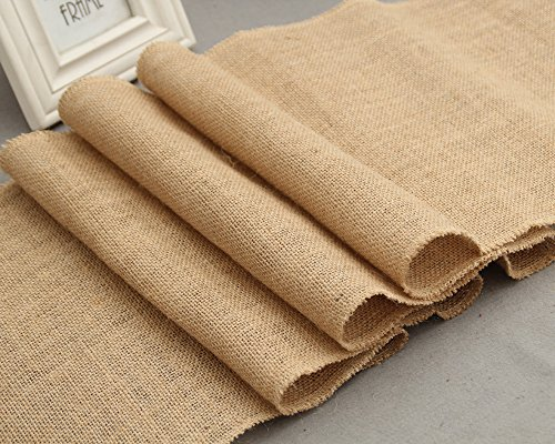 CCTRO Burlap Hessian Table Runner 12x108 Inch Rustic Natural Jute Country Vintage Wedding Decoration Rustic Kitchen Decor, Farmhouse Decoration