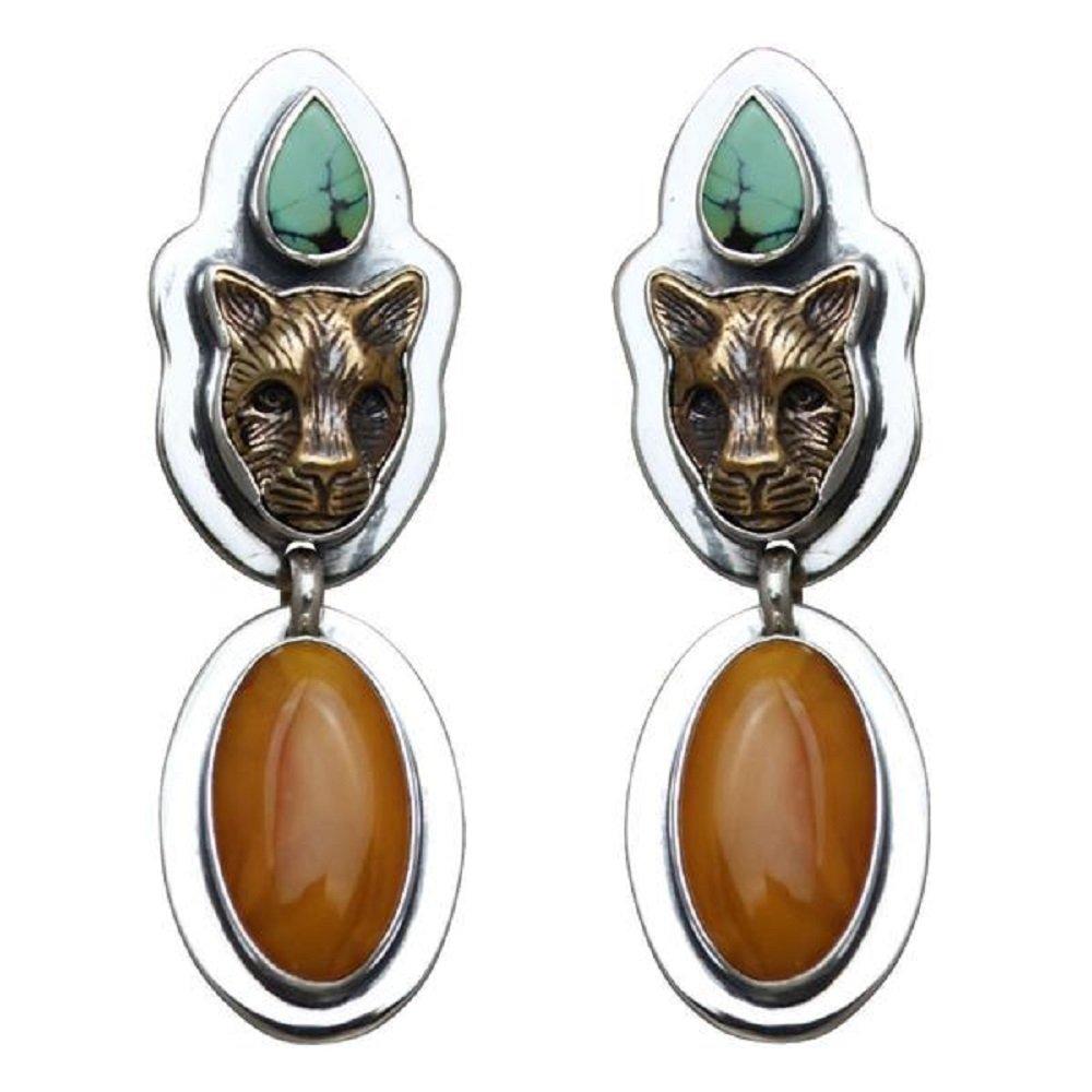 Tabra 925 Silver & Bronze Amber Jaguar Earrings