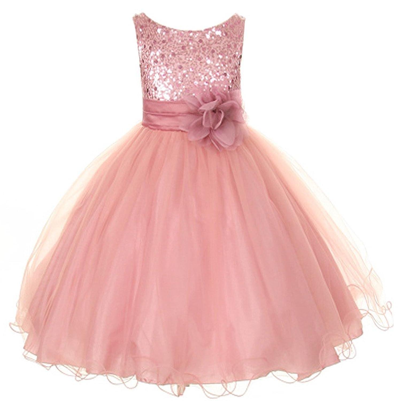 Amazon.com: Flower Girls Sequin Glitter Beaded Big Girls\' Dress ...