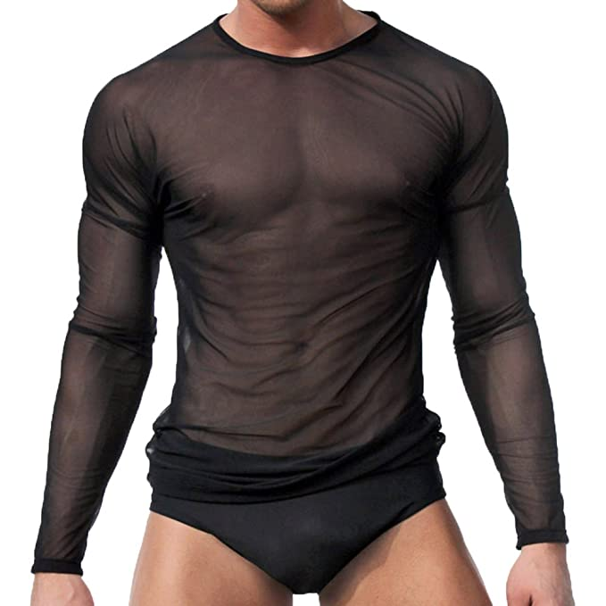 Ropa interior para hombres sexy Camiseta de manga larga Tops Ropa interior para dormir By Sandbank Negro M mD3SbwSAkn
