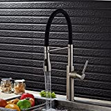 OWOFAN Modern Brushed Nickel Single Handle Stainless Steel Pull Down Sprayer Kitchen Faucet, Kitchen Sink Faucet without Deck Plate WF-9910SN