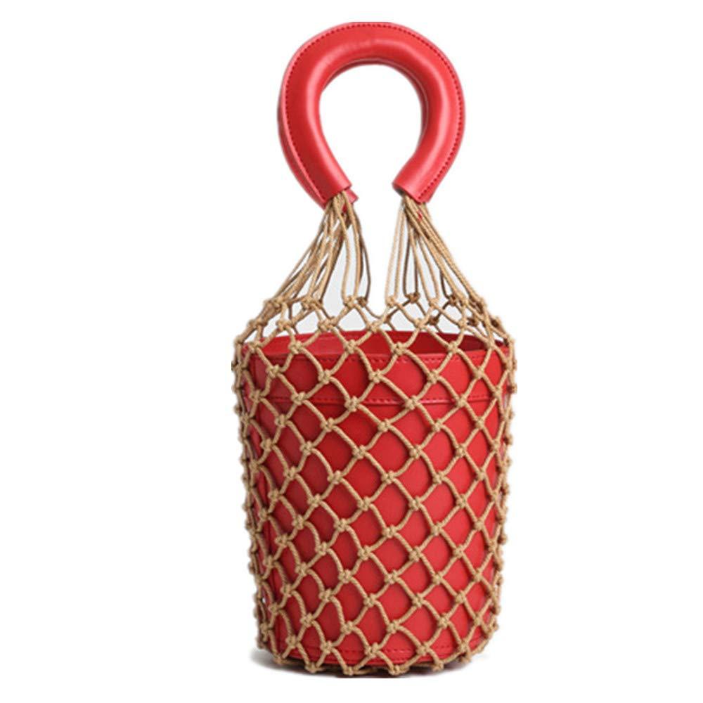 レディースハンドバッグ 女性の釣りネットバッグメッシュ織バッグハンドバッグファッション人格ハンドバッグ 海外旅行に適しています (色 : 赤)  赤 B07RV17DFB