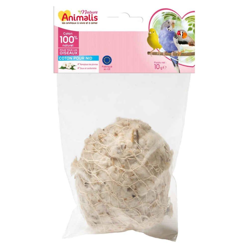 Animalis Nid Coton pour Oiseau Nature - 10g