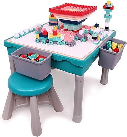 HGFDSA Mesa de Bloques de construcción, Mesa de Juego ensamblada de plástico Multifuncional Silla de Comedor Mesa de Estudio Mesa de Estudio Adecuado para niños y niñas de 3 a 10 años: