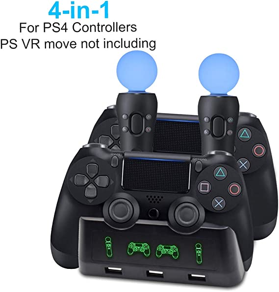 AMANKA 4 in 1 Playstation 4 PS / VR Move Controller Estación Base Estación de Carga para Mandos de Playstation 4 Sony PS4 Controller y Mando de Movimiento PS VR con Indicador