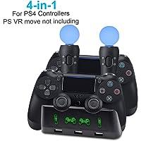 AMANKA 4 in 1 Playstation 4 PS / VR Move Controller Estación Base Estación de Carga para Mandos de Playstation 4 Sony…