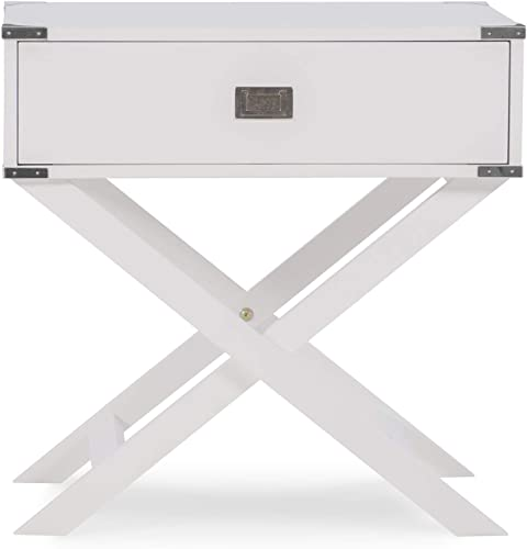 Linon Home D cor Jaycee X Base White Accent Table