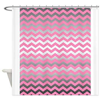 Amazon.com: CafePress - Pink metallic silver chevron print Shower ...