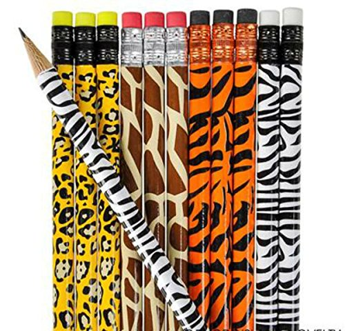 - 12 Animal Wooden Pencil - Erasers Party Favor 7.5
