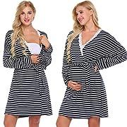 Skylin Nursing Gown and Robe Women Long Sleeve Delivey Robe Nightie Night Wear(Navy,XL)