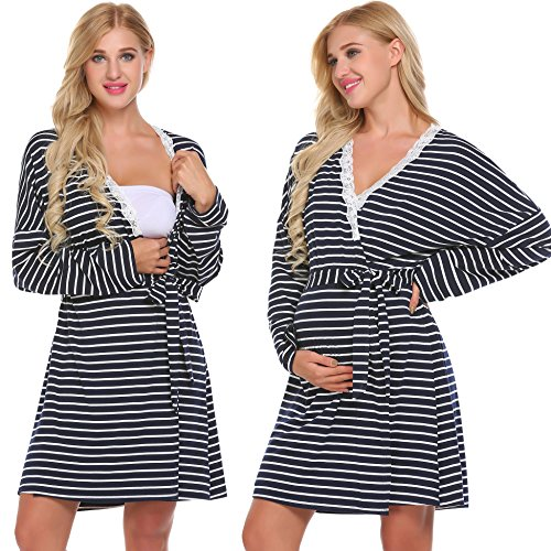 Skylin Maternity Nightgown Women's Nursing Nightdress Robe Set Labour Hospital(Navy,Large)