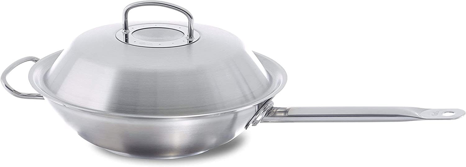 Fissler original-profi collection Stainless Steel Wok-Pan (12-in, 4,4 Quart) Asia-Frypan with Metal-Lid, Induction, silver (084-833-30-000/0)