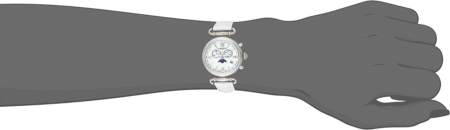 Akribos Multifunction Swiss Chronograph Watch - Sub-dial Complications Women's Watch - Mother of Pearl Dial and Leather Calfskin Strap - AK754 Silver/White