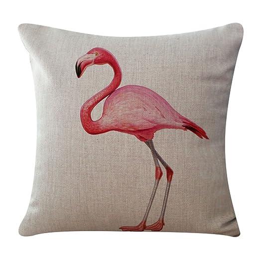 BIGBOBA - Funda de cojín de lino y algodón con forma de flamenco para sofá, cama, decoración del hogar, funda de almohada 45 x 45 cm (a)