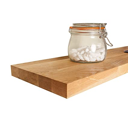 Solid Oak Timber Block Wall Mounting Shelf - Available in a Variety of  Sizes (900 mm x 200mm x 27mm)