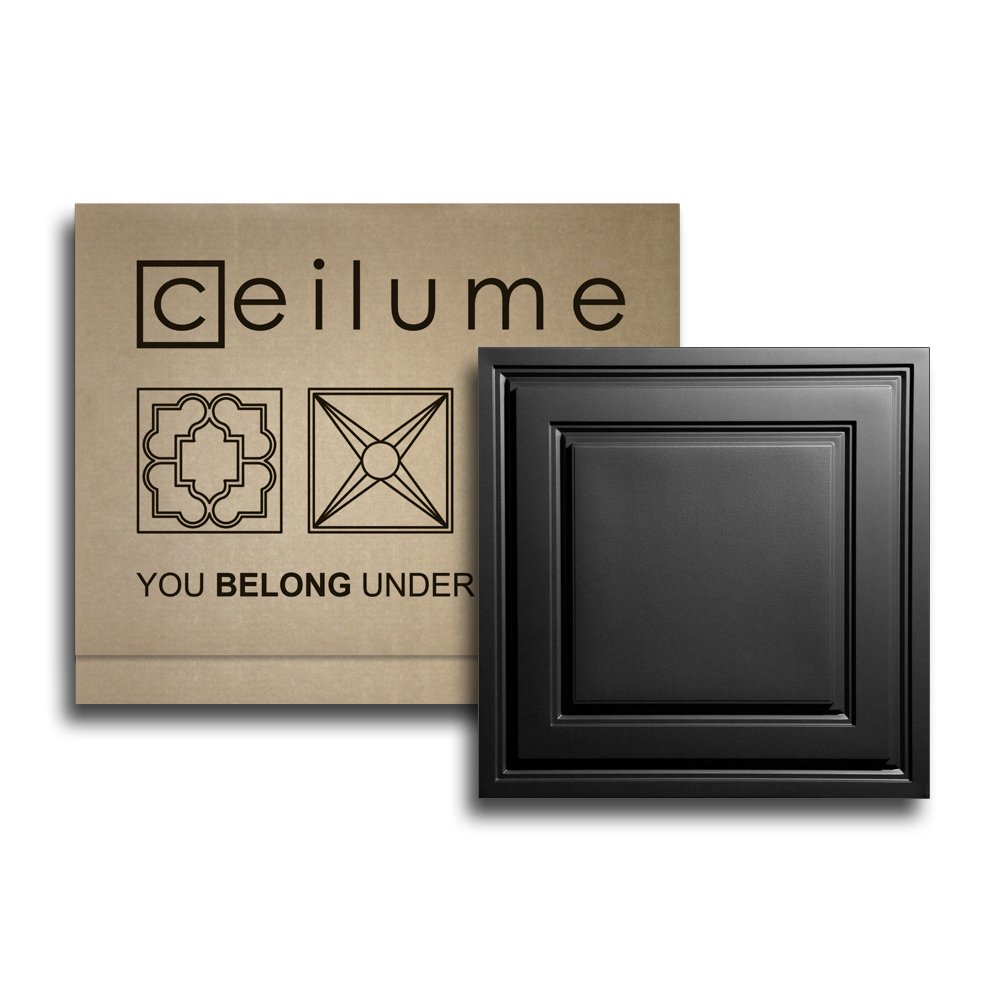 10 pc - Ceilume Stratford Ultra-Thin Feather-Light 2x2 Lay In Ceiling Tiles - For Use In 1'' T-Bar Ceiling Grid - Drop Ceiling Tiles (Black) by Ceilume