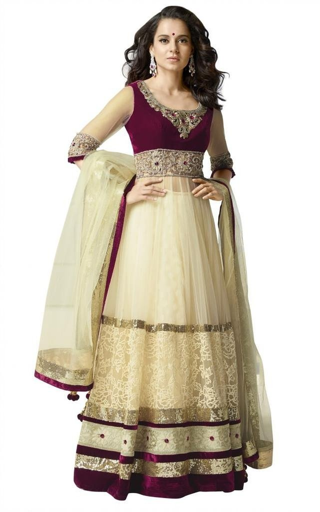 Jay Sarees Long Floor Length Anarkali Velvet and Net Salwar Suit - Semi Stitched