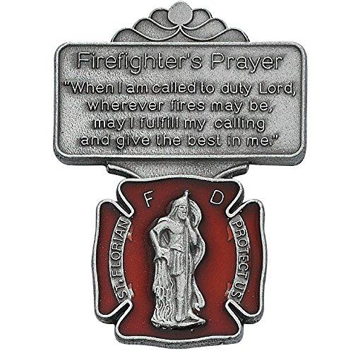 St Florian Maroon Firefighter Prayer Auto Visor Clip