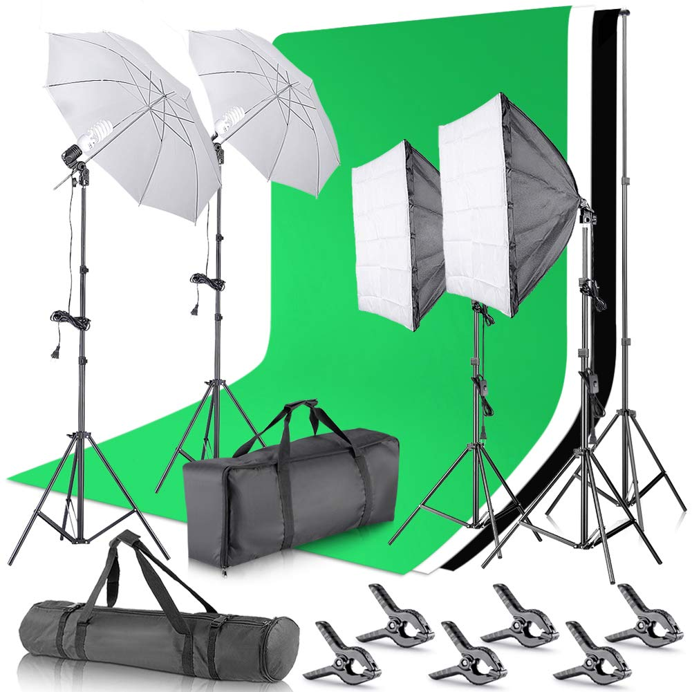 Neewer Upgraded 2.6x3 M/8.5x10 ft Background Support System with 800W 5500K Softbox and Umbrella Continuous Lighting Kit for Photo Studio Product, Portrait and Video Photography (New Fabric Backdrop) by Neewer