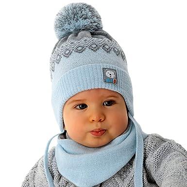 a4278cd2f5 AJS Jungen Baby Winterset Set Mütze Wintermütze Bommelmütze Halstuch mit  Wolle ab 0 Monat bis 3