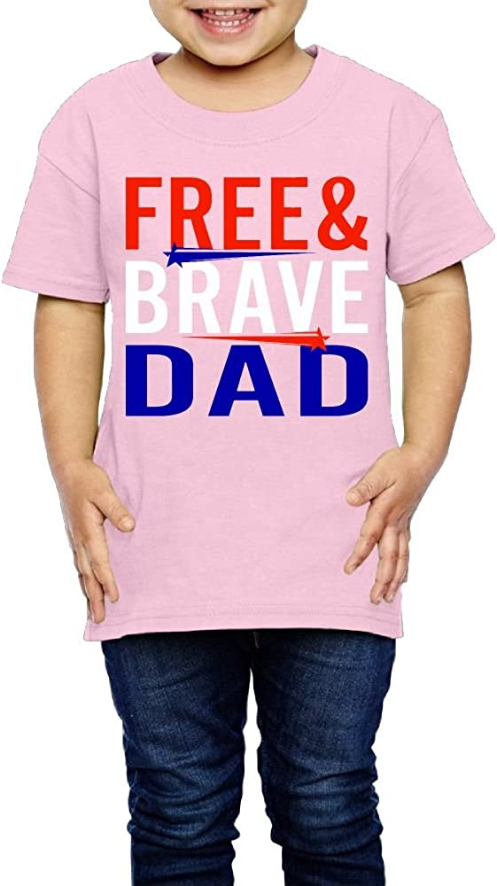 Yishuo Boys Patriotic Free and Brave Dad Mug Cool Outdoor T-Shirt Short Sleeve Pink 2 Toddler