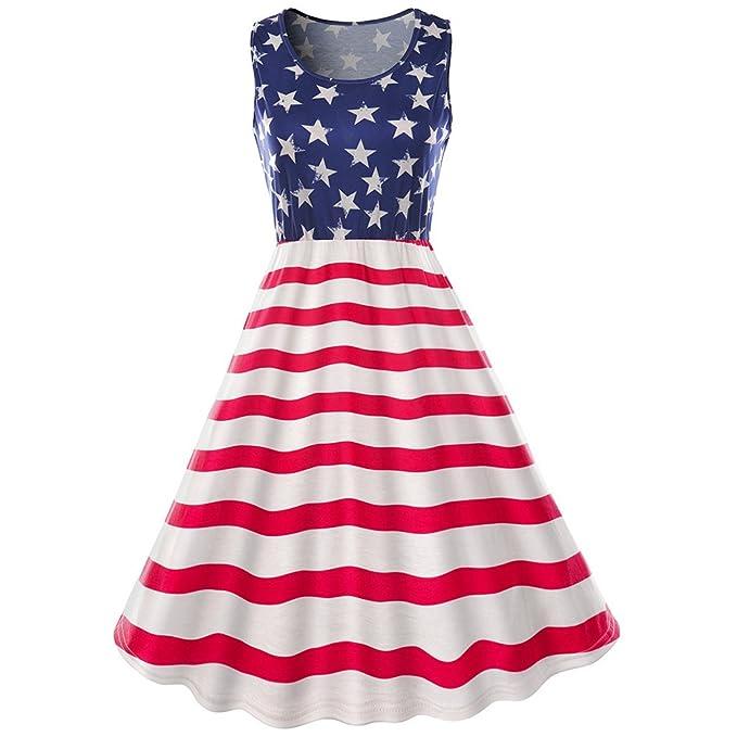 Amazon.com: Mujer sin mangas 4 de julio bandera americana ...