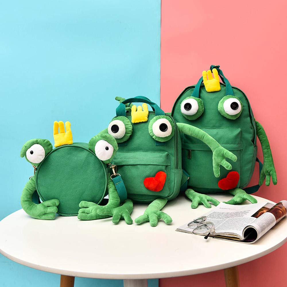 Green two Medium CYCY Qiluo Luo Bao female Korean version of ulzzang student campus backpack funny cartoon cute monster cute canvas backpack bluee large