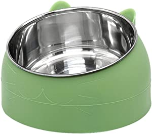 Sorlakar Stainless Steel Cat Bowls 7 OZ,15°Tilted Cat Dog Bowl Removable Water Food Feeder Bowl,Non-Skid & Non-Spill for Small Medium Large Cats Dogs