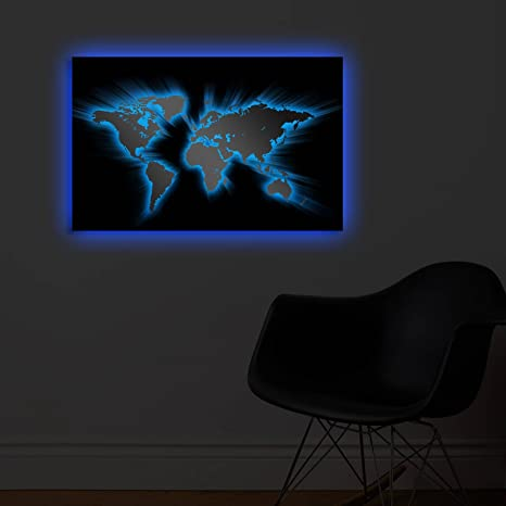 Amazon com: Blue Led Lighted Canvas Wall Art - World Map and