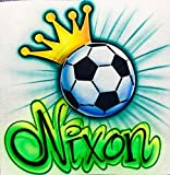 Airbrush Soccer/Football Royalty T Shirt, Crown and Name