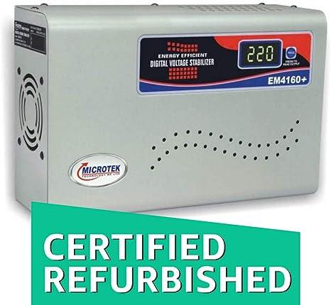 Renewed  Microtek EM4160+ 160V 285V Digital Display Voltage Stabilizer  Grey  Voltage Stabilizers