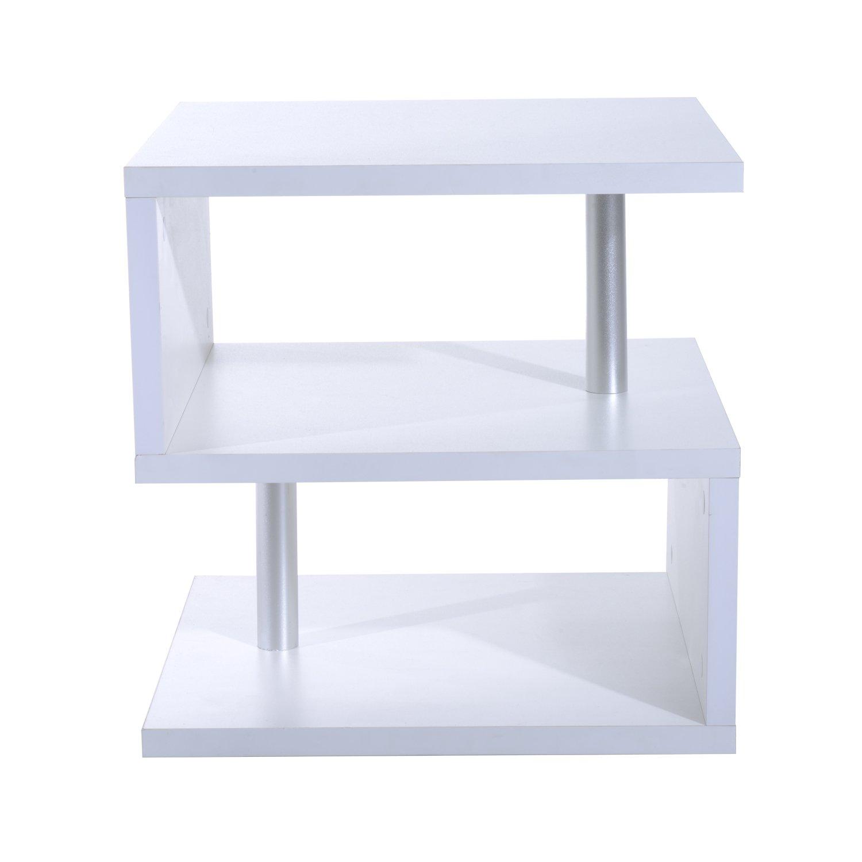 Homcom Table Basse Carré de Salon Moderne 2 Etagères de Rangement 50L x 50l x 50Hcm (Noir) MH France