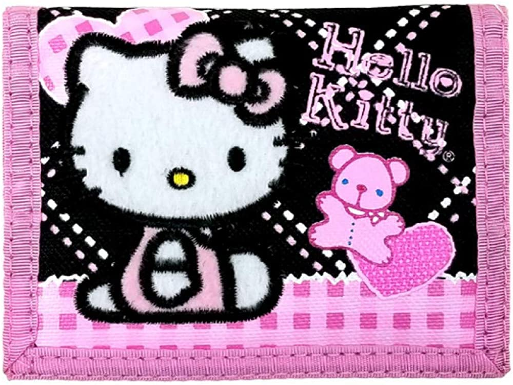 Sanrio Hello Kitty Tri Wallet Black W/Pink Bear
