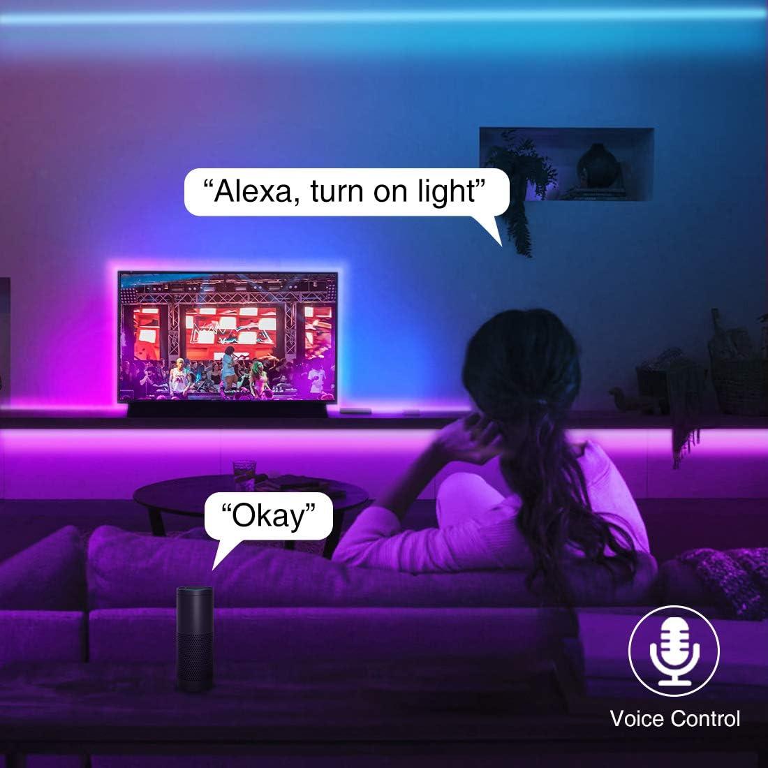 Bande R/églable Multicolore Alexa Google Home D/écoration Int/érieur No/ël Maison F/ête Soir/ée Bar Onforu 20M Ruban LED Wifi Intelligent RGB Smart T/él/éphone APP Android IOS 600 LEDs 5050