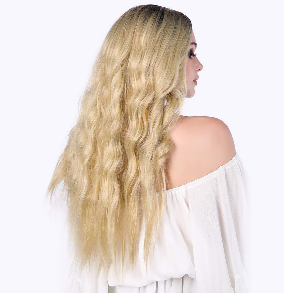 Natural Long Wavy Wig, Dark Roots Ombre Hair Blonde Wig 28'' (Blonde)