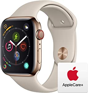Apple Watch Series 4 (GPS + Cellular, 44mm) - Gold Stainless Steel Case with Stone Sport Band with AppleCare+ Bundle