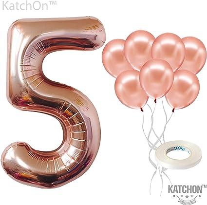 Digital Birthday Balloons Aluminum film Party Decorations Supply Rose Gold 5