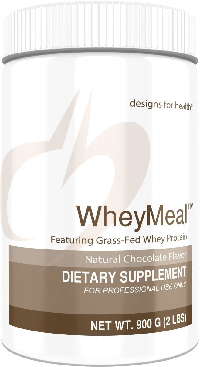 Designs for Health WheyMeal – Chocolate Grass Fed Whey Protein Powder with 16g Protein 25 Servings 900g
