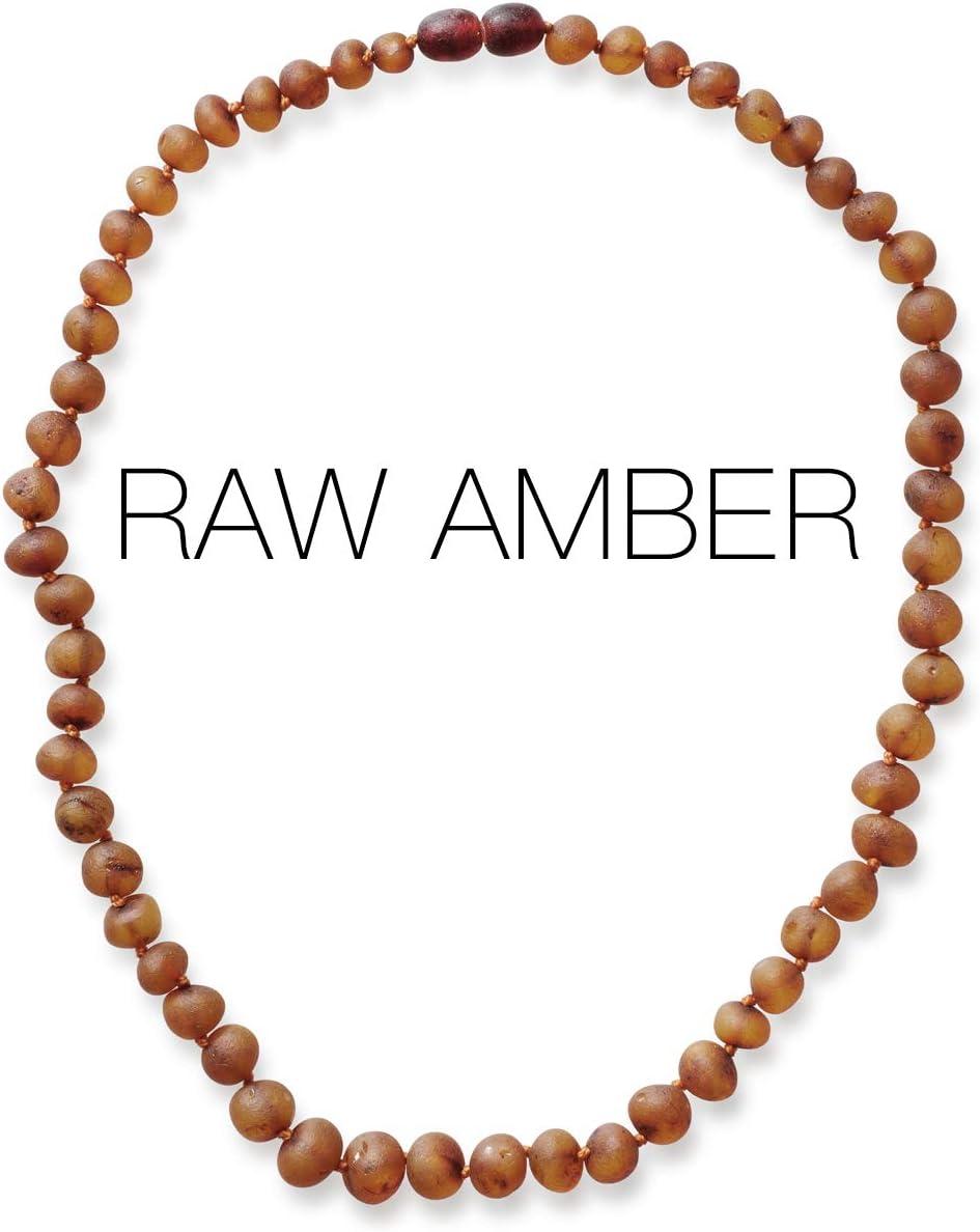 Meraki Amber Necklace - Raw Unpolished Baroque Amber Necklace | Certified Genuine Amber Necklace | Cognac Color (12.5 Inches): Health & Personal Care