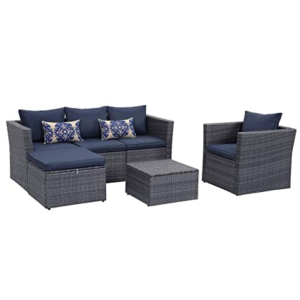 Blue Patio Furniture Sets.Young Tech Patio Furniture 6 Pcs Outdoor Sectional Furniture Set Pe Rattan Conversation Sets With Matching Waterproof Patio Cushions And Coffee Table