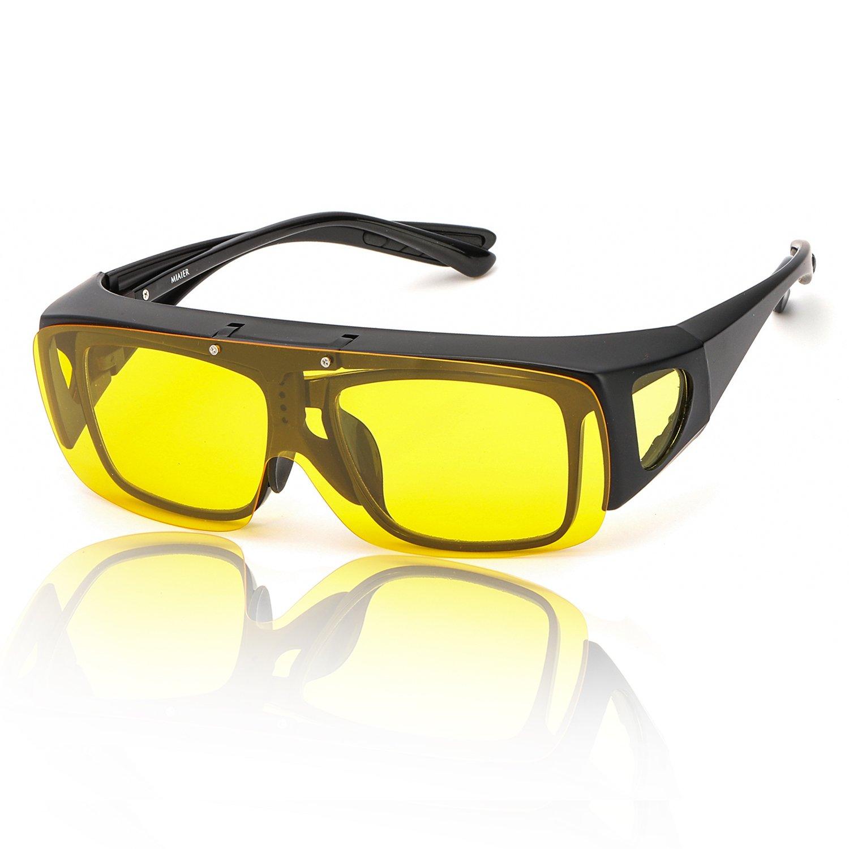 SIPHEW Gafas Conduccion Nocturna Polarizadas-Mejora el Brillo de la Conducción Durante la Noche y en Días Nublados y Lluviosos Protección 100% UVA/UVB