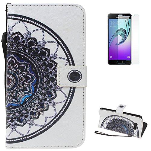 Samsung Galaxy A310/A3 2016 Cartera funda de cuero + libre [protector de pantalla]Kasehom Mano Cráneo creativo diseño colorido pintado con[ranura de la tarjeta] [soporte] [Shock Absorption parachoques Lace Mandala