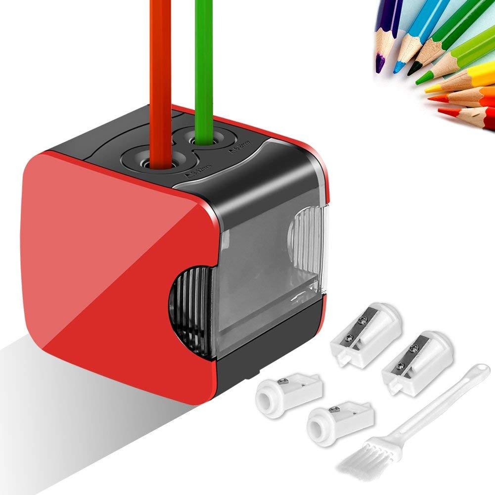 Elektrischer Anspitzer, Upeffeet Convent Elektrischer Spitzer mit USB- und Batteriebetrieb, Perfekt für Blei- und Farbstifte, Vollautomatisch Bleistiftspitzer mit 2 Löcher von Verschiedenen Größe, Schnell und Sicher für Kinder, Ideal für Schule, Zuhause od