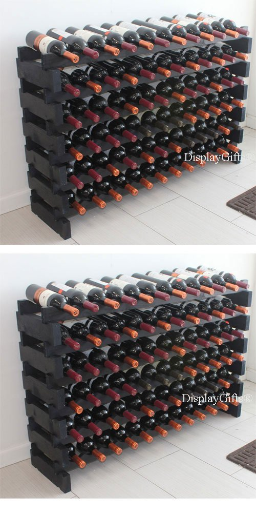 Stackable Modular Wine Rack Stackable Storage Stand Display Shelves, Wobble-Free, Pine wood, (144 Bottle Capacity)