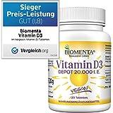 BIOMENTA VITAMIN D3 HOCHDOSIERT + VEGAN   20000 I. E.   AKTIONSPREIS!!!   Vitamin D3 DEPOT: 1 Tab. Vitamin D /20 Tage   120 Vitamin D3 Tabletten aus Cholecalciferol