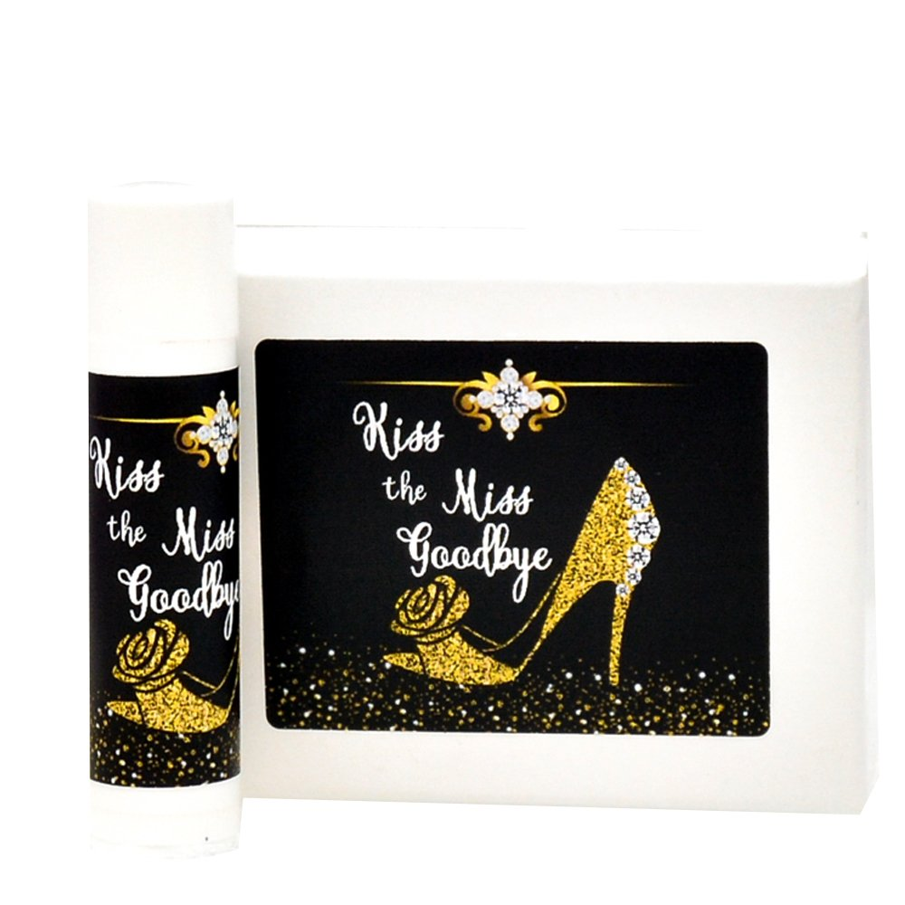 30 Kiss the Miss Goodbye Stickers, Faux Gold Lip Balm Stickers, Bridal Shower Gold Shoes Labels