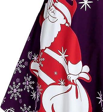MIRRAY Boże Narodzenie Damska Snowflake Print Długi rękaw Sukienka Rockabilly Cocktail Sukienka wieczorowa: Odzież